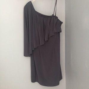 Gray one-shoulder cocktail dress, size 10